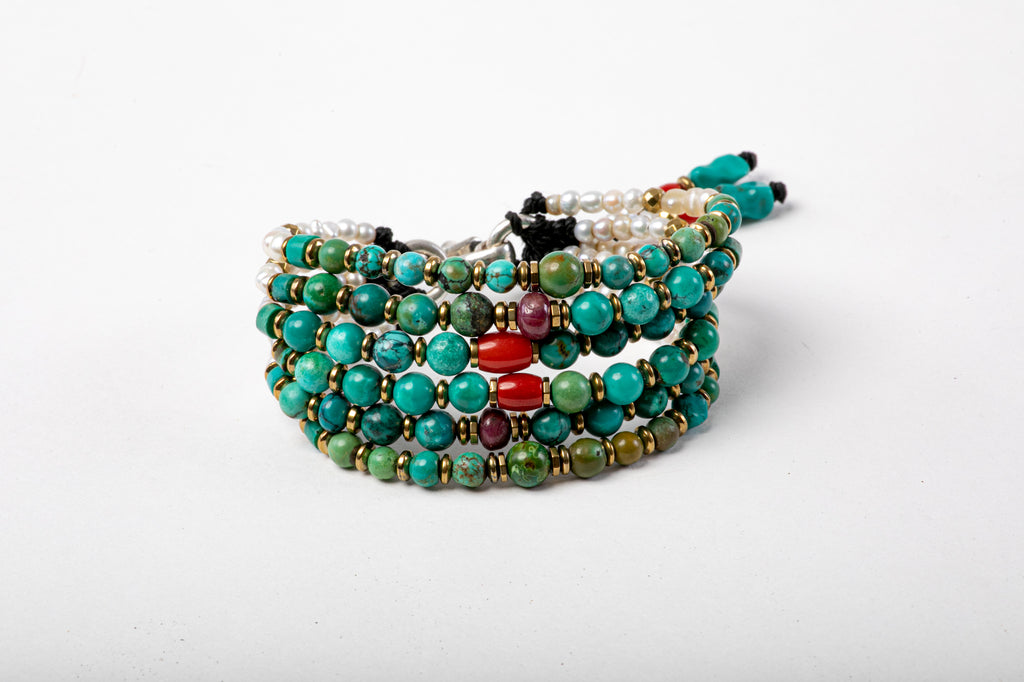 Six Strings Royal Bracelet - Turquoise, Pearl
