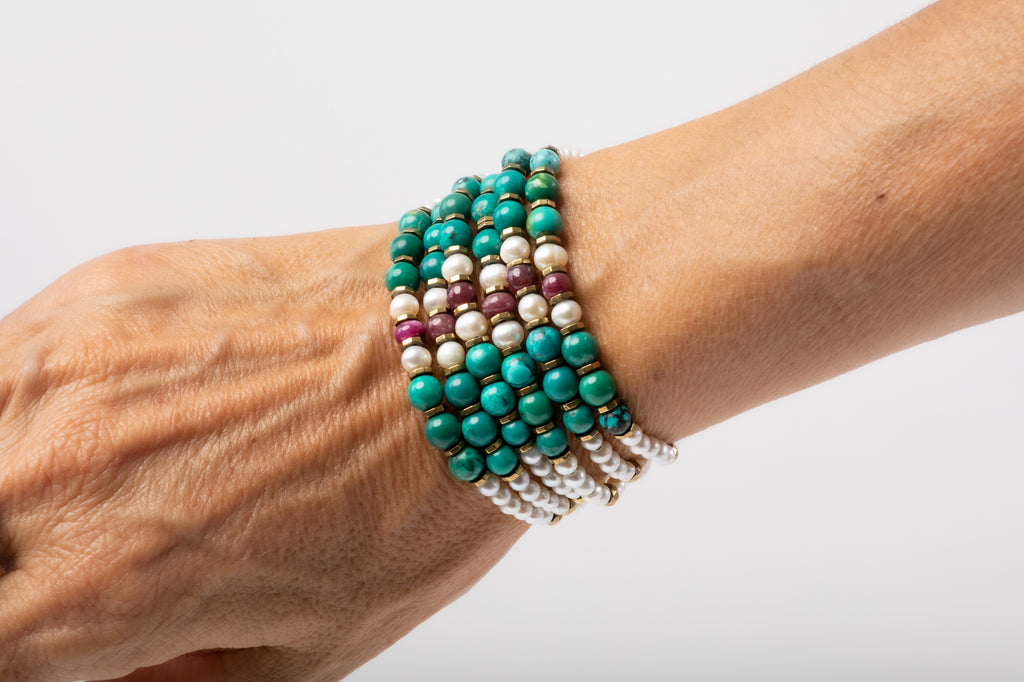 Six Strings Royal Bracelet‏ - Turquoise, Ruby, Pearl
