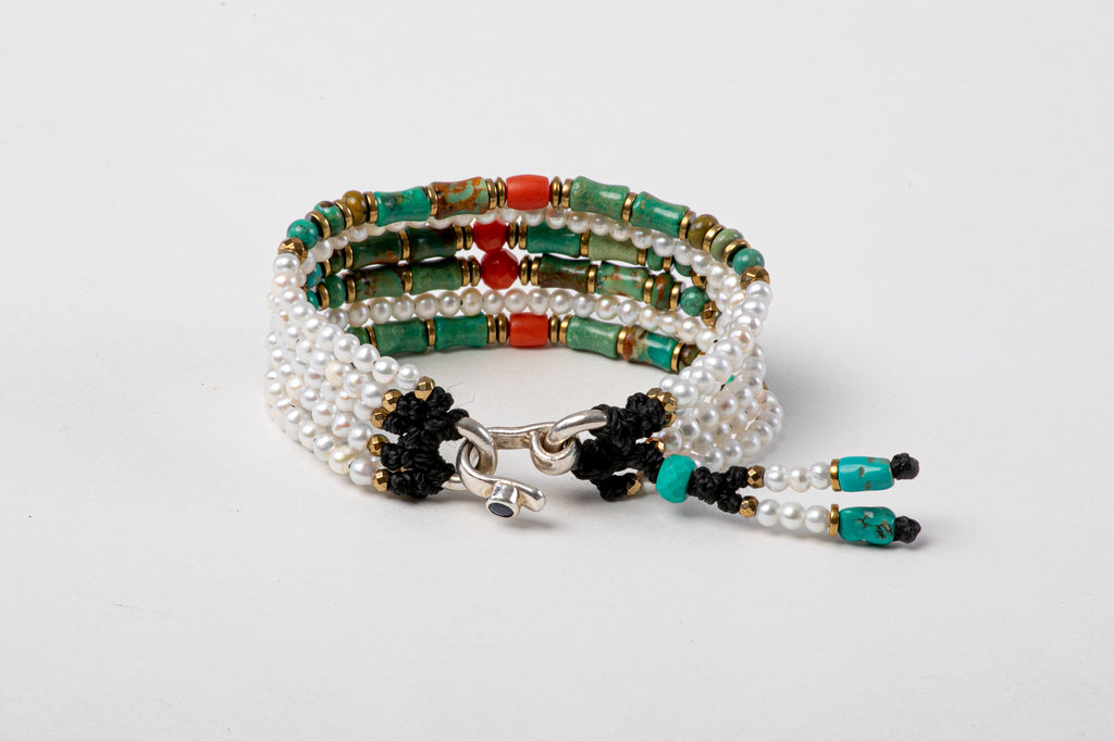 Six Strings, Turquoise Pearl Bracelet‏