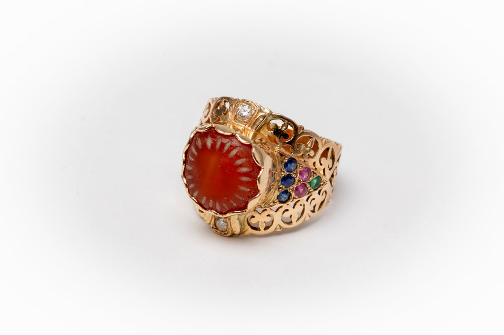 Ancient agate gold Ring