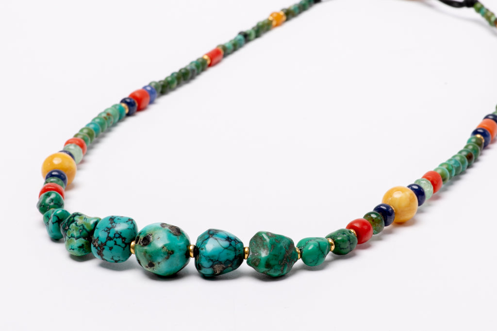 Gold beads-gemstone mala necklace