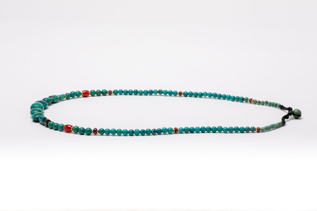Ancient Tibetan Turquoise mala necklace with gold beads