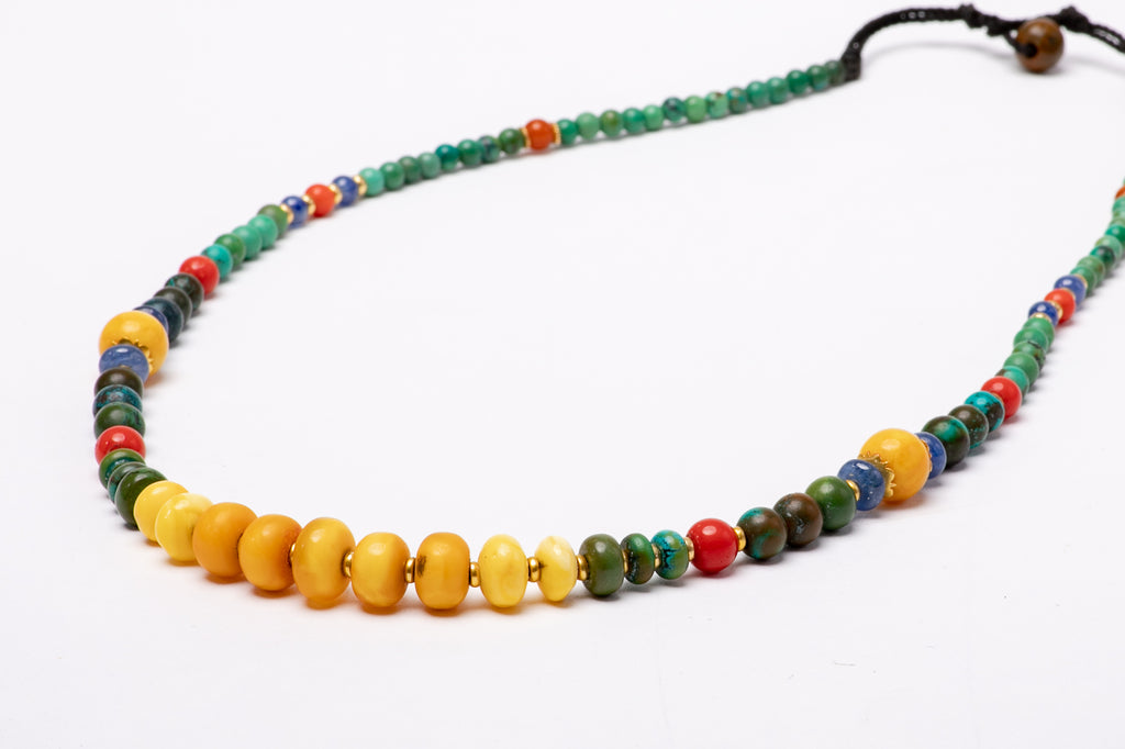 Amber and Turquoise necklace with coral and gold beads