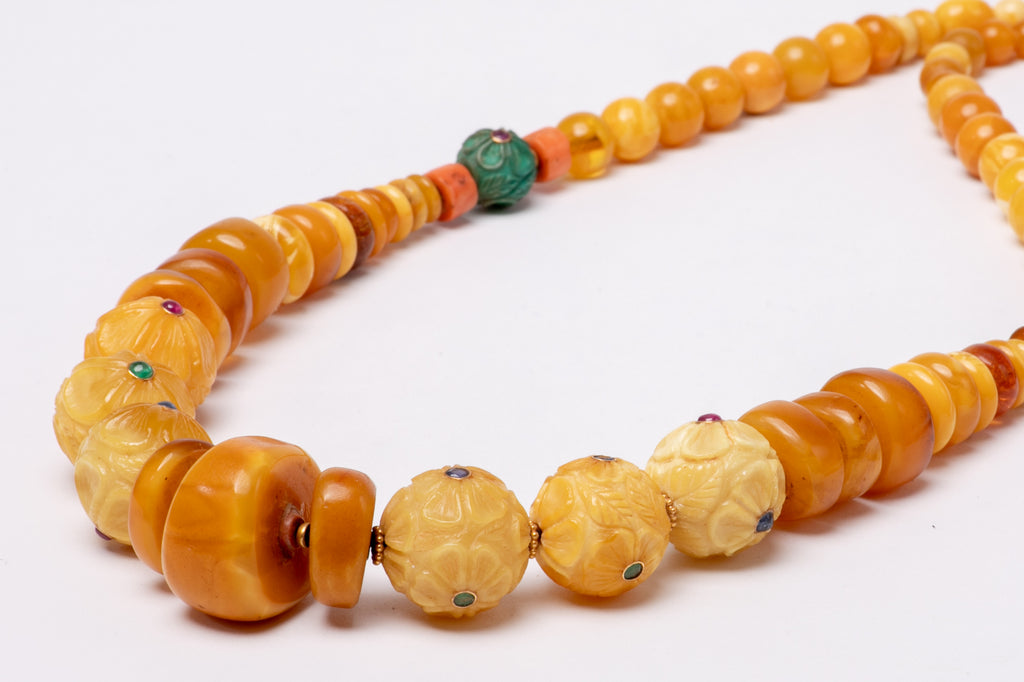 Ancient Tibetan amber carved flowers with gold beads