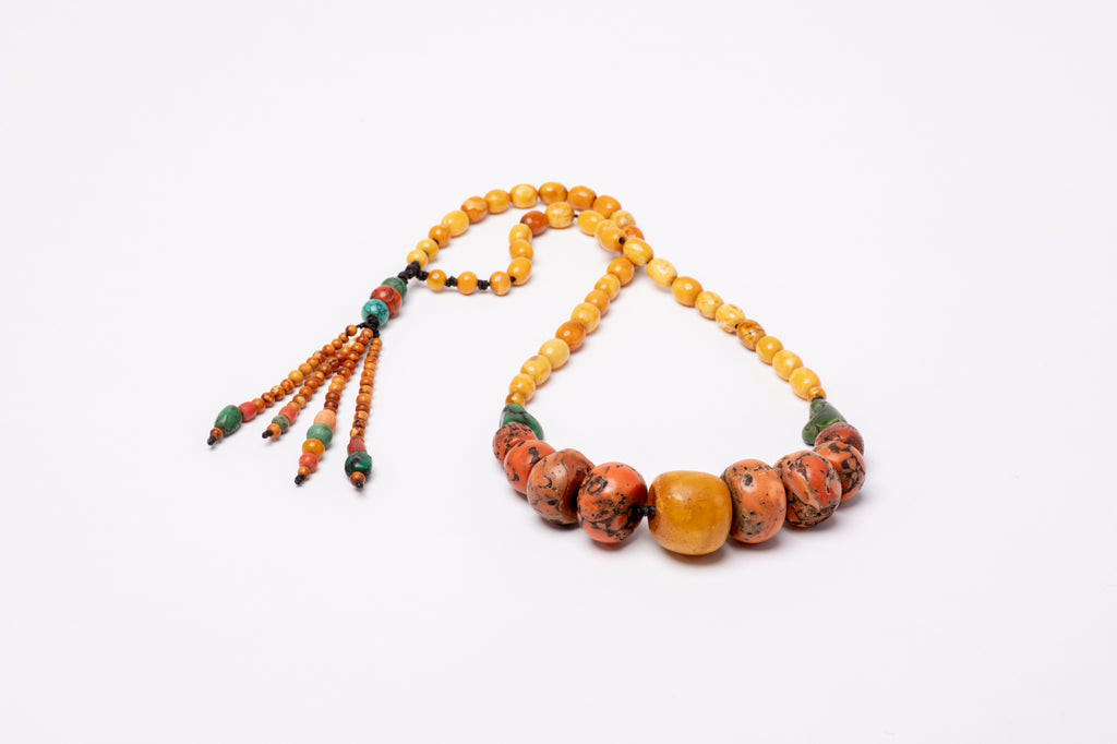 Ancient Tibetan amber coral & turquoise
