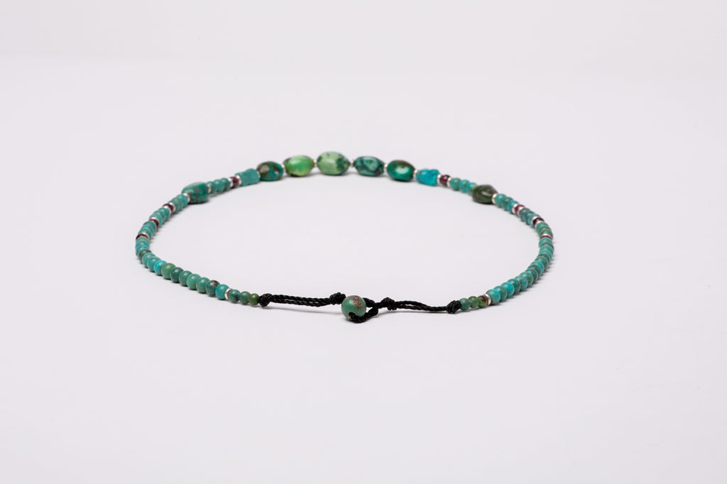 Turquoise necklace with Garnet and silver beads