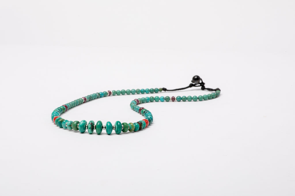 Turquoise necklace with red Coral and Ruby