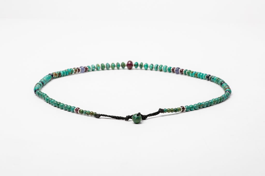 Turquoise necklace with Rubies and Sapphires