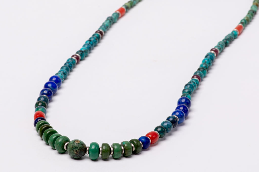 Turquoise necklace with Lapis lazuli, Coral and Garnet