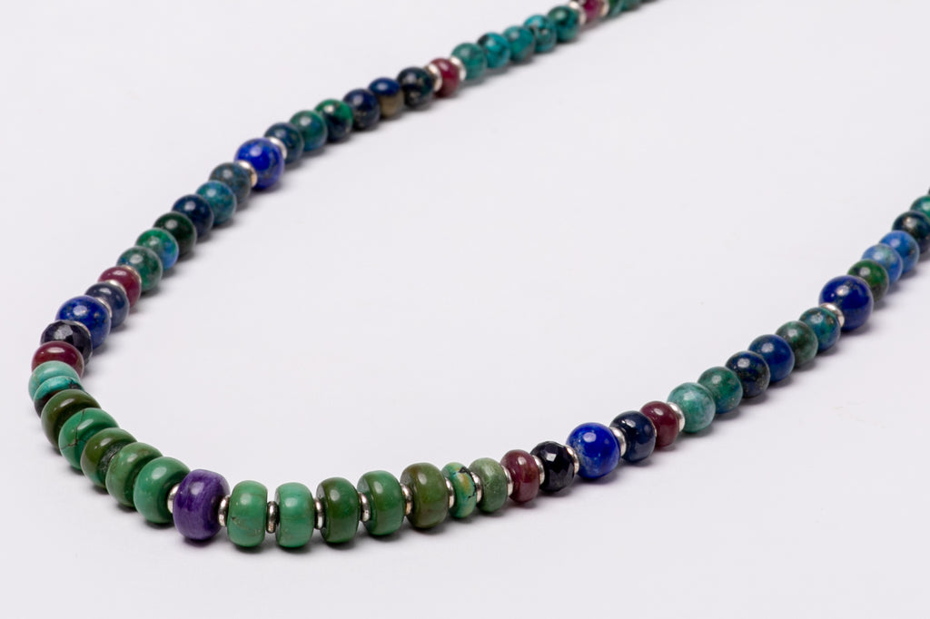 Turquoise necklace with Sujilite, Lapis Lazuli and Rubi stones