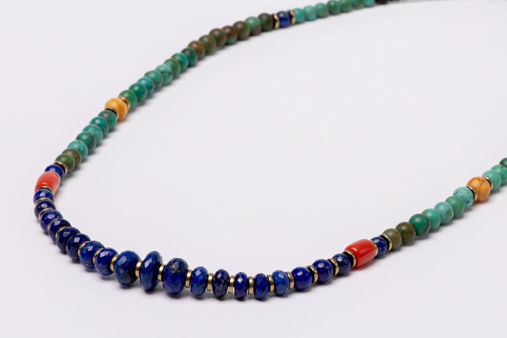 Lapis lazuli mala necklace with hematite beads