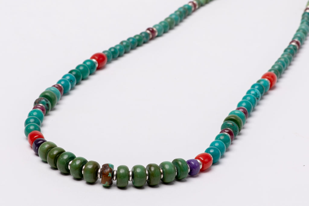 Turquoise necklace with antique coral beads and silver