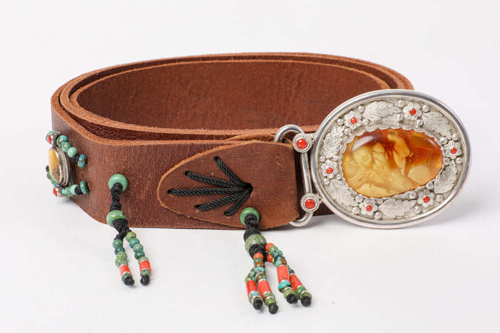 Brown leather belt with Amber stone buckle