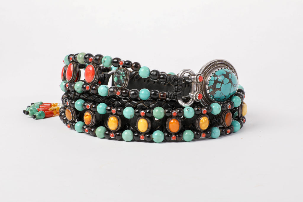 Luxurious coral amber turquoise beaded belt