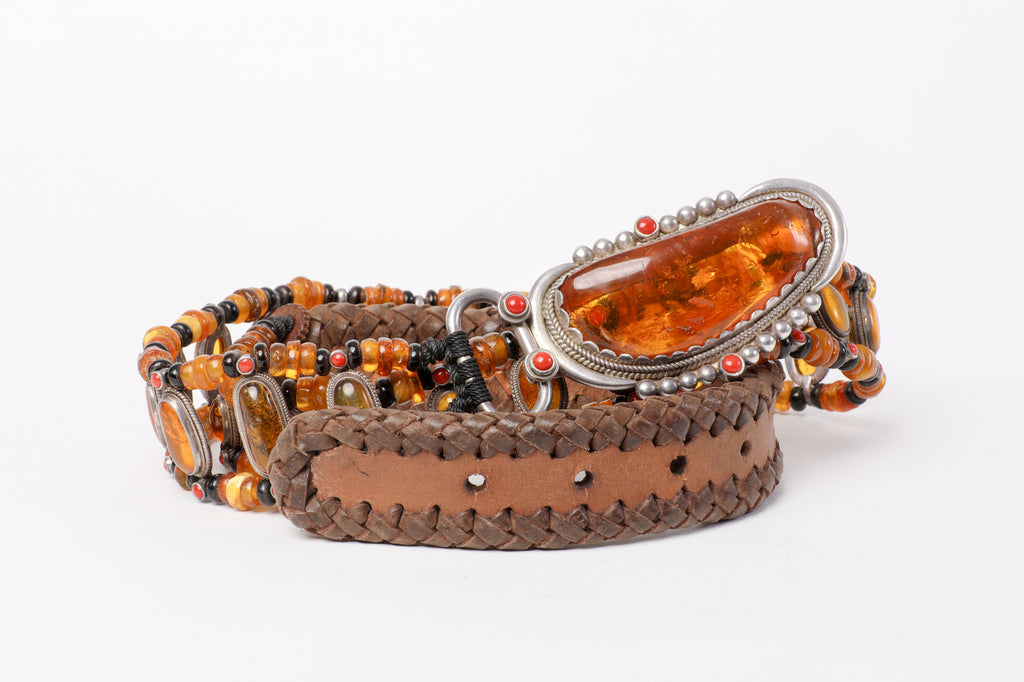 Honey Amber beads belt