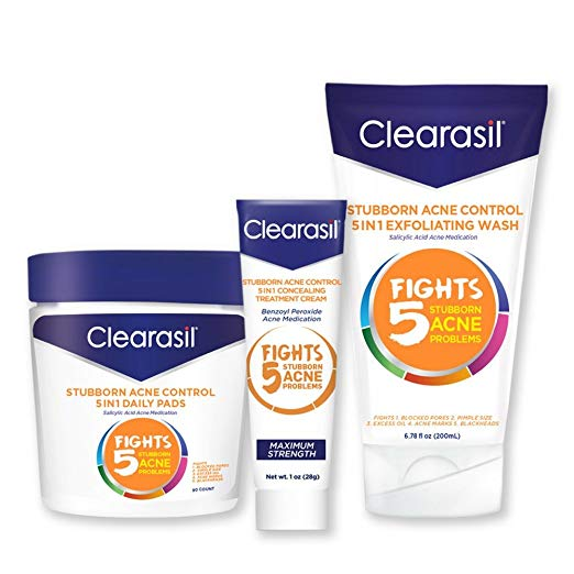 Clearasil® Stubborn Acne Control Kit With 5in1 Daily Facial Cleansing Pads 90 ct, Exfoliating Wash 6.78 oz & Spot Treatment Cream 1 oz