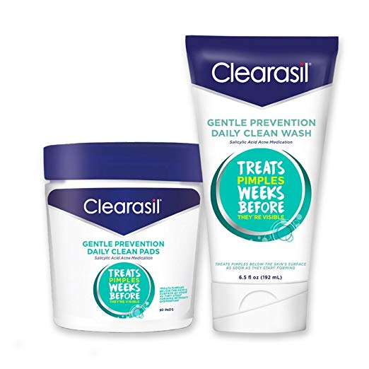 Clearasil® Gentle Prevention Daily Acne Kit With Oil-Free Facial Cleansing Pads 90 ct & Clean Face Wash 6.5 oz