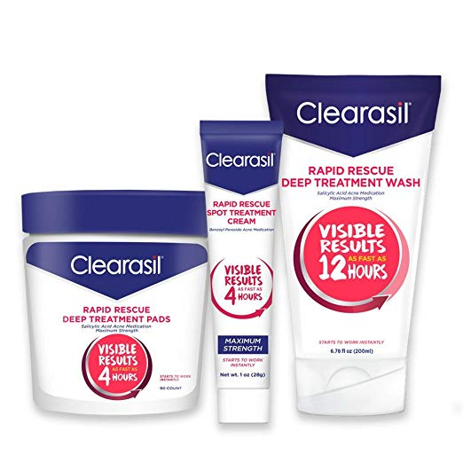 Clearasil® Rapid Rescue Acne Kit With Deep Treatment Cleansing Pads 90ct, Spot Treatment Cream 1oz & Deep Treatment Wash 6.78oz