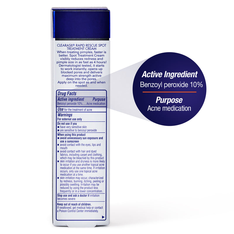 Clearasil Benzoyl Peroxide Rapid Rescue Spot Treatment Acne Cream, 1 fl oz