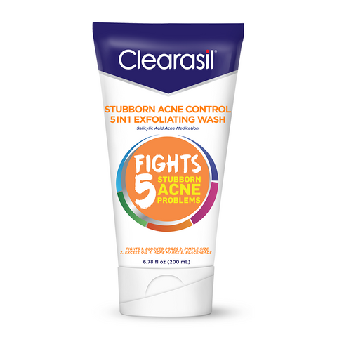 Clearasil Stubborn Acne Exfoliating Acne Face Wash, Normal to Oily Skin, 6.78 fl oz