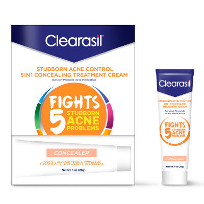 Clearasil® Stubborn Acne Control 5in1 Tinted Concealing Treatment Cream, 1 oz, Benzoyl Peroxide Acne Medication