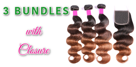 3 Bundles with Closure coloured Hair