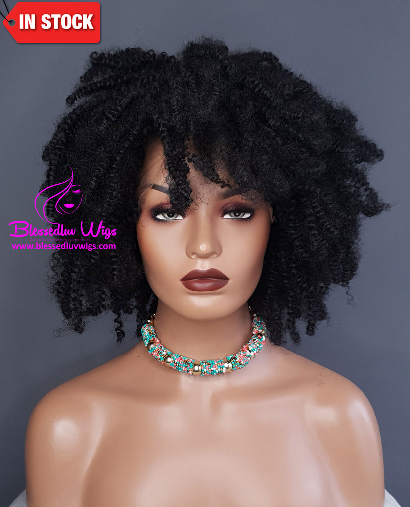 Abebi - Synthetic Afro Curly 13x4 Lace Frontal Wig-Brazilianweave.com-Brazilianweave.com