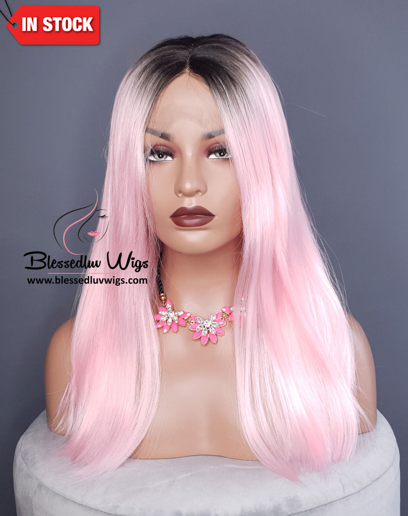 Cadi- Synthetic Ombré # Pink Synthetic 13x4 Lace Frontal Wig-Brazilianweave.com-Brazilianweave.com