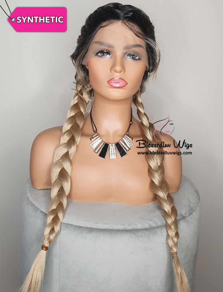Queen - Ombré #1b Synthetic Lace Front Wig-Brazilianweave.com-Brazilianweave.com