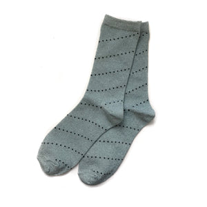 Dot Stripe Socks, Baby Blue