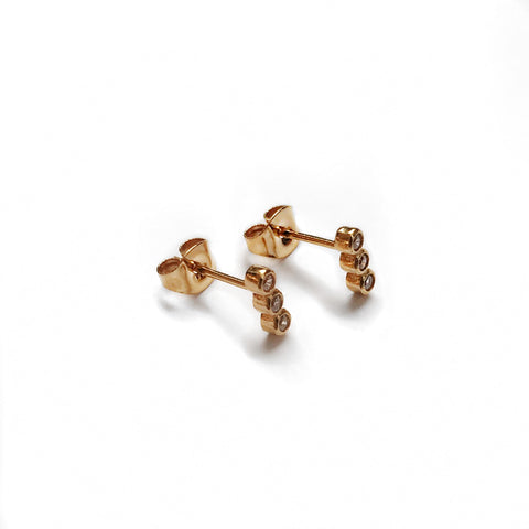 Trible Crystal stud - Gold
