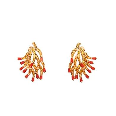 Coral Crystal Earrings
