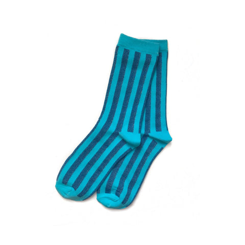 Vertical Striped Socks, Turqouise