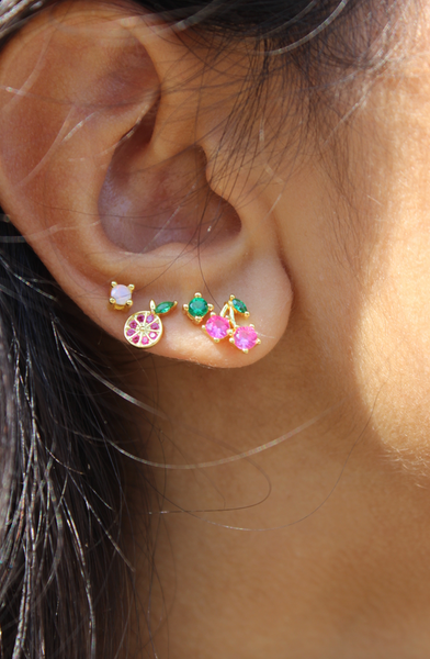 Grapefruit Crystal Stud