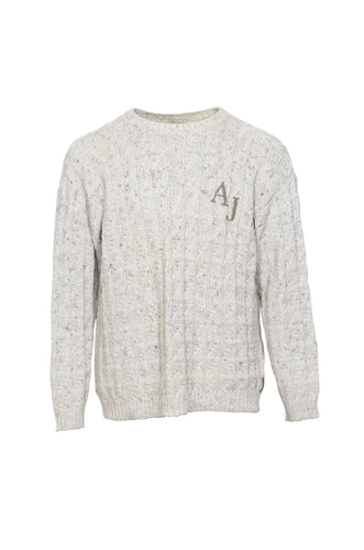 ARMANI Beige Embroidered Jumper in Size Large
