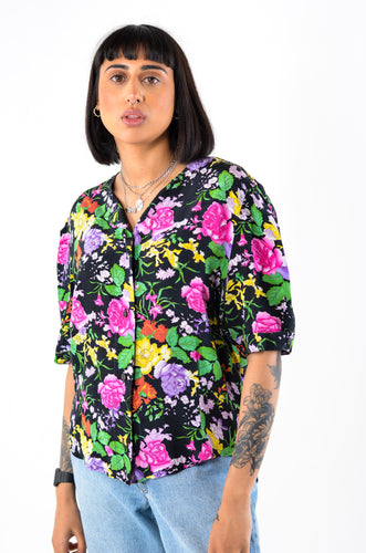 Floral Short Sleeve Blouse in Size 12