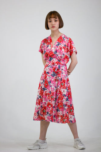 Floral Wrap Front Midi Dress in Size 12