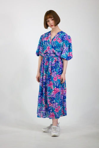 Floral Print Puff Sleeve Midi Dress in Size 12