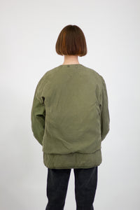 Green Pre 80s American Army Liner Jacket Size Large