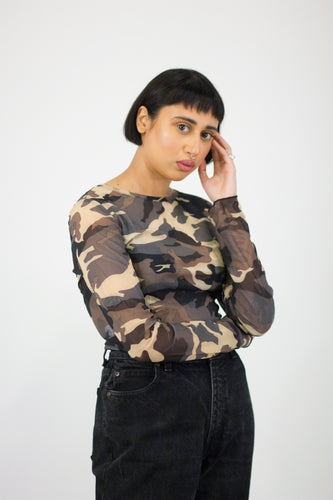 Green Camo Print Mesh Crop Top