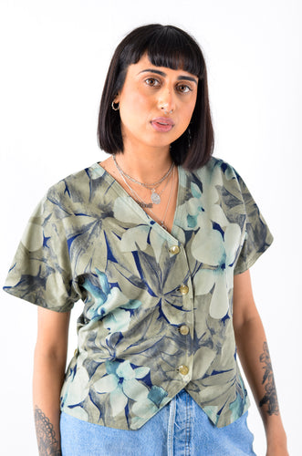 Khaki Leaf Print Blouse Top in Size 10