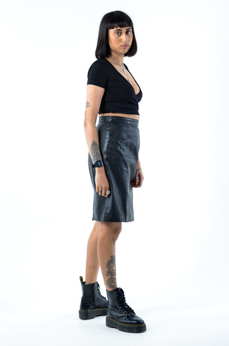 Black Leather Pencil Skirt in Waist 26