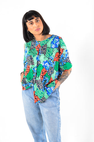 Patchwork Floral Blouse in Size 14