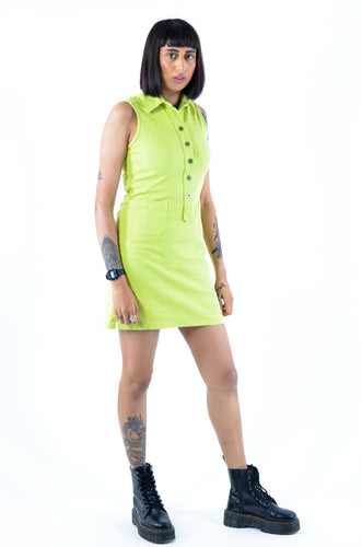 Lime Green Sleeveless Mini Dress in Size 8