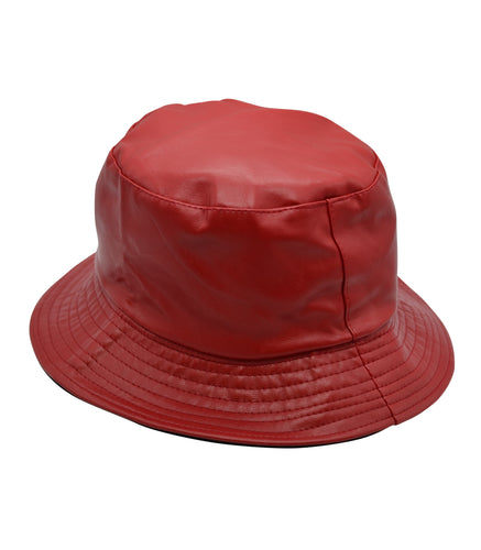 Faux Leather Bucket Hat in Red