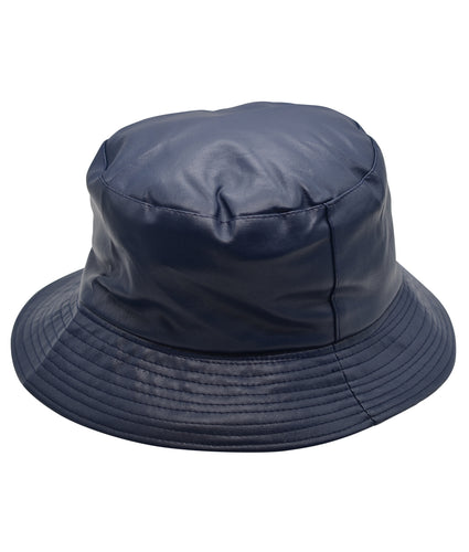 Faux Leather Bucket Hat in Navy