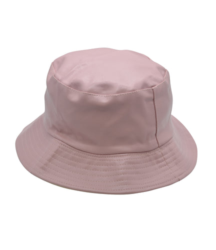 Faux Leather Bucket Hat in Baby Pink