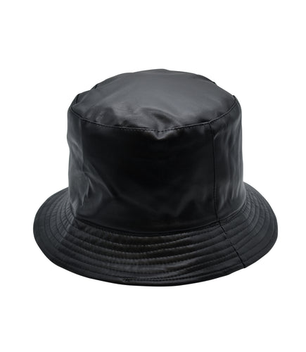 Faux Leather Bucket Hat in Black