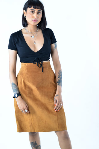 Tan Suede Pencil Skirt in Waist 28
