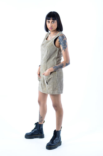 Khaki Cord Pinafore Dress in Size 10
